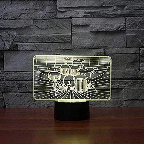 Juego de batería de instrumentos musicales de 7 colores Luz de noche LED 3D Lámpara de escritorio táctil Decoración del hogar Lámpara de atmósfera Regalo de fan de la música Lámpara de animació