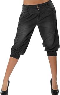 6db36f316f0 Mujer 3/4 Pantalón Corto Capri Pantalón Bermudas Denim Shorts Vaqueros  Tallas Grandes Suelto Rodilla
