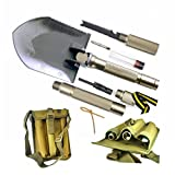 BANG TI Super High Strength Military Folding Shovel (15-in-1 Multifunction) A Must-Have for Off Road and Outdoor Survival, w/Portable Tool Pouch and Head Cover (Model: D1)