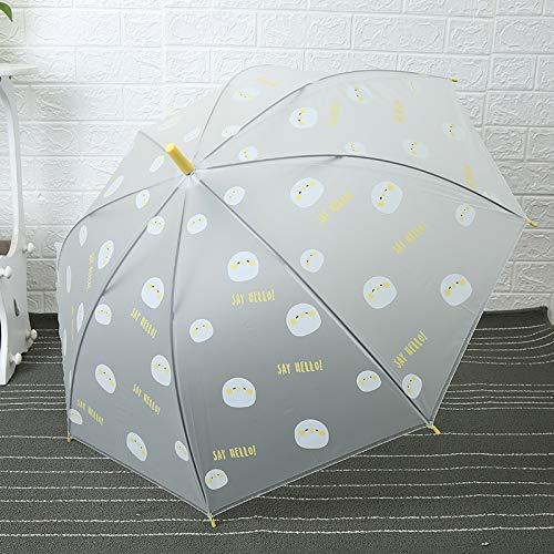 weichuang Paraguas creativo con diseño de dibujos animados, paraguas de doble uso, translúcido, recto, gancho curvado, mango recto, paraguas (color: amarillo)