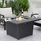 Kinger Home Propane Fire Pit Table 42 Inch, 50,000 BTU Rattan Wicker Gas Fire Pit Table fo...