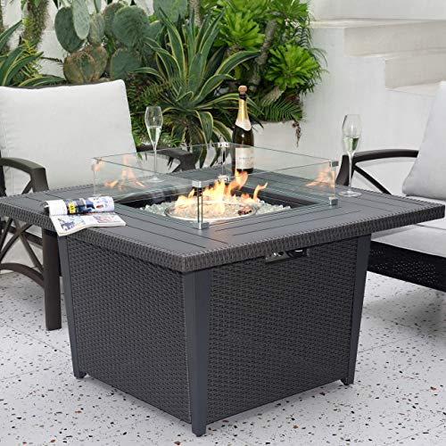 Kinger Home Propane Fire Pit Table 42 Inch, 50,000 BTU Rattan Wicker Gas Fire Pit Table for Outdoor Patio, Slide Out Tank Holder, with Glass Wind Guard, Glass Beads, Cover, and Lid, Gray