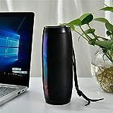 DKee Negro Flash LED Bluetooth Altavoz portátil de Altavoces al Aire Libre 1200 mAh Correa de Tela Impermeable subwoofer Radio FM
