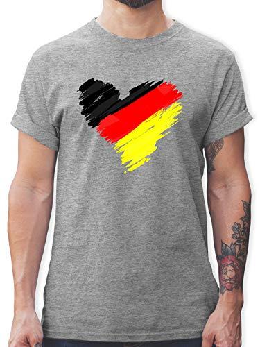 Fussball EM 2021 Fanartikel - Deutschland EM Herz - S - Grau meliert - wm Shirt Deutschland 2018 Herren - L190 - Tshirt Herren und Männer T-Shirts