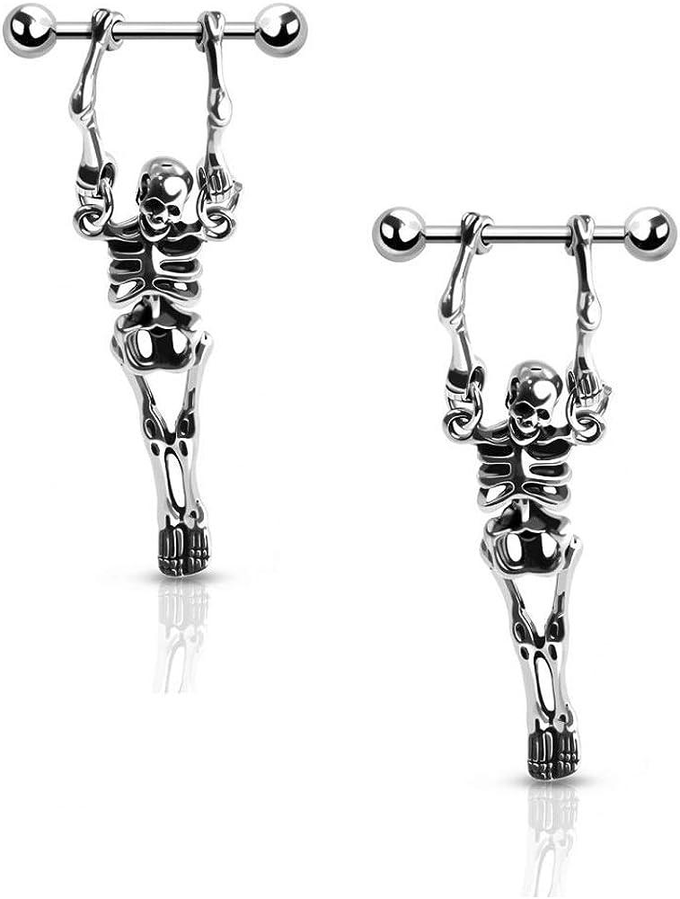 Pierced Owl 16G Stainless Steel Hanging Skeleton Nipple Barbells, Sold as a Pair