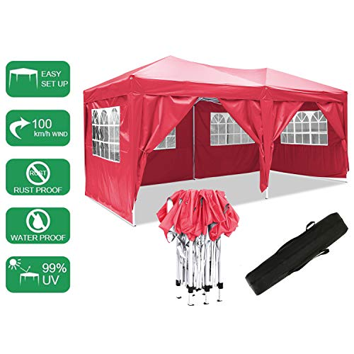 Laiozyen 3 x 6 m Waterproof Pop Up Gazebo Marquee Water Resistant Tent with Side Panels & Storage Bag for Outdoor Wedding Garden Party (Red)