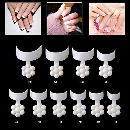 Mwoot 500 Stück Französisch Falsche Nagelspitzen, Crescent Shape Short Nail Tips, Acryl Gefälschte Nägel Tipps für DIY Nagelstudios, 10 Größen