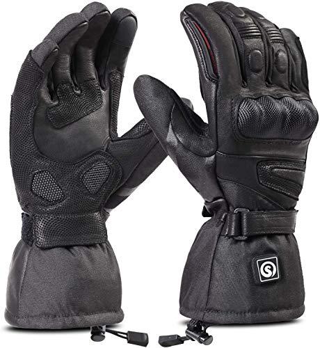 day wolf Beheizbare Handschuhe, Beheizbare Motorradhandschuhe, Wasserdichte und Warme Motorradhandschuhe mit CE-Zertifizierung Wiederaufladbarem Lithium Ionen Akku Handschuhe 7.4V 2200MAH