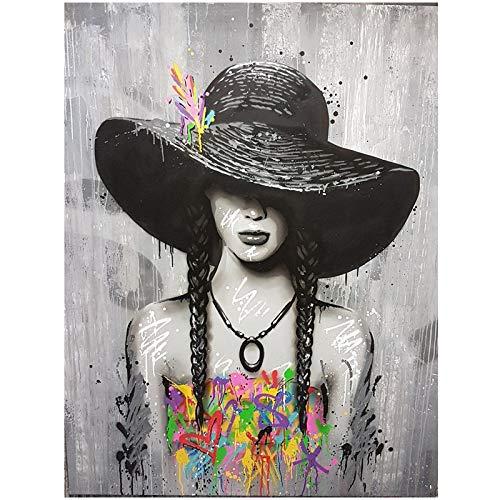 Graffiti Kunst Leinwanddruck Malerei Schönheit Mädchen Wandkunst Poster Frauen abstrakte Kunst Bild Wohnzimmer Home Kunst rahmenlose dekorative Malerei Z64 50x70cm