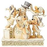 Disney Traditions, Figura de Mickey, Minnie y Donald con muñeco de nieve,...
