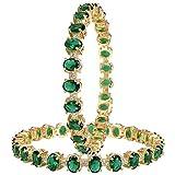 Ratnavali Jewels CZ Zirconia Tono Dorado Verde Diamante Bollywood Indio brazaletes Pulsera joyería Mujeres