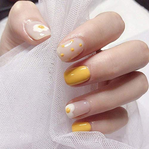 Poliphili 24Pcs Glossy Yellow Dot Egg Short Square Removable Wear False Nails Press On Full Coverage Artificial Acrylic Fake Nails Tips