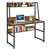 YAHEETECH 47 inch Computer Desk with Hutch & Storage Shelves for Small Space, Home Office Modern Writing Desk with Bookshelf, PC Laptop Table Workstation Space Saving Desk for Bedroom, Rustic Brown