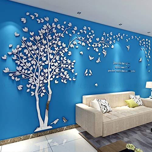 Albero Adesivo da Parete, Alberi e Uccelli 3D Adesivi Murali Arts Wall Sticker Decorativi per TV Par (S-200 * 100cm, Argento Sinistra)
