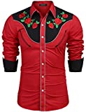 COOFANDY Men's Stylish Casual Rose Floral Embroidered Western Long Sleeve Button Shirt(Red,S)