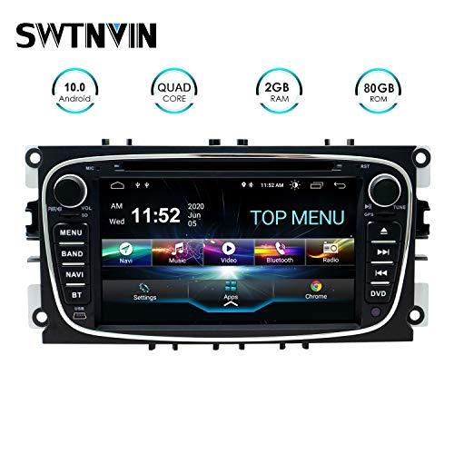 SWTNVIN Android 10.0 Autoradio Headunit passend für Ford Mondeo Focus Fusion Transit Fiesta Galaxy DVD Player Radio 7 Zoll HD Touchscreen GPS Navigation mit Bluetooth WIFI SWC 3G 2GB+80GB(Schwarz09)
