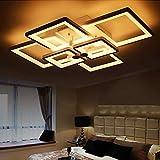 N/Z Equipo para el hogar Luz de Hierro Negro Lámpara LED Regulable 6 Lámpara de Sala de Estar Cuadrada Lámpara de Dormitorio Comedor Cocina Luces de iluminación Lámpara Blanca Pantalla de Techo