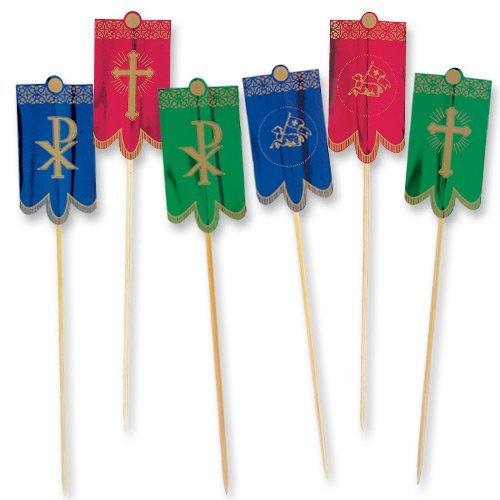 100 Stück Osterlamm Fahnen zum Osterfest | Osterlamm | Fahnen in Rot | Blau | Grün