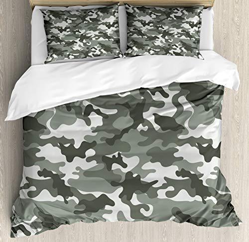 Ambesonne Camouflage Duvet Cover Set, Monochrome Attire Pattern Camouflage Inside Vegetation Fashion Design Print, Decorative 3 Piece Bedding Set with 2 Pillow Shams, Queen Size, Coconut Grey