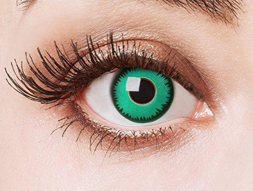 aricona Kontaktlinsen - Leuchtend grüne Kontaktlinsen ohne Stärke - Farbige Kontaktlinsen Motivlinsen für Karneval, Fasching, Cosplay und Motto-Partys, 2 Stück