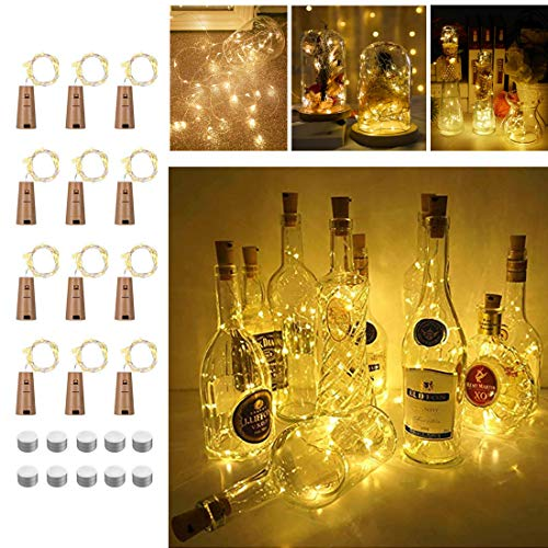Bottle Lights with Cork 12 Pack Battery Operated 2M 20LEDs Copper Wire Cork Lights for Bottles Indoor Outdoor Decoration