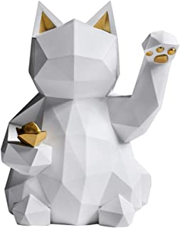 Geometric Lucky Cat Statue Collectible Figurine Feng Shui Successful Career Fortune Charm Good Health Decor,White,S