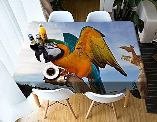 XXDD 3D Lindo Conejo Blanco Rectangular 3D Mantel decoración del hogar Mantel Lavable Cubierta de Mesa Impermeable A8 140x180cm
