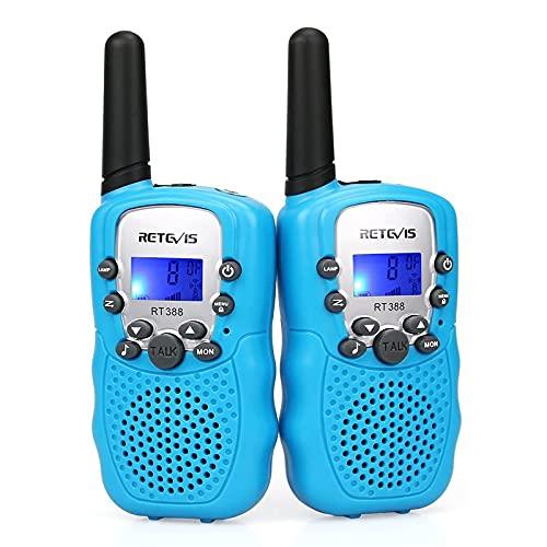 Retevis RT388 Walkie Talkie Niños,Juguetes de Largo Alcance de 3 a 12 Años,Linterna LCD Recargable de 8 Canales, Regalos para Camping, Aventura, Senderismo (1 par, Azul)