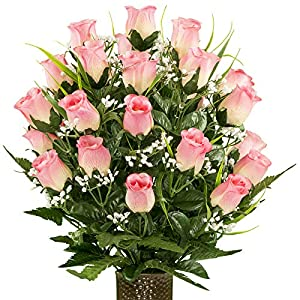 Sympathy Silks Artificial Cemetery Flowers – Realistic – Outdoor Grave Decorations – Pink Rose with Lily Grass