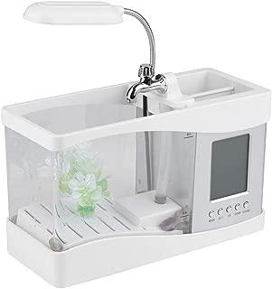 Aquarium Multifunctional USB Rechargeable Desktop Electronic Aquarium Mini Fish Tank with Water Running Pump Calendar Clock Function Light Pen Holder (White)