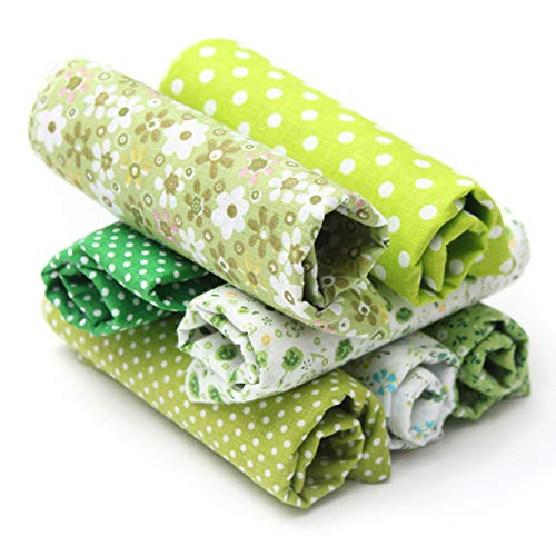 KING DO WAY Tessuti Stampati, Set di Stoffa Patchwork per Fatti a Mano, Materiali Tessuti in Cotone per Hobby Creativi (Verde)