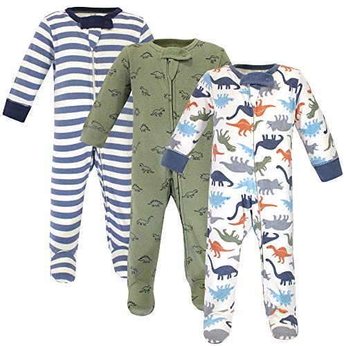 Touched by Nature Baby Organic Cotton Sleep and Play Toddler Sleepers, Dinosaurs, 0-3 Months