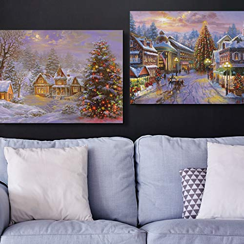 2 Piece Happy Holidays Canvas Wall Art Print Set, Christmas Home Decor