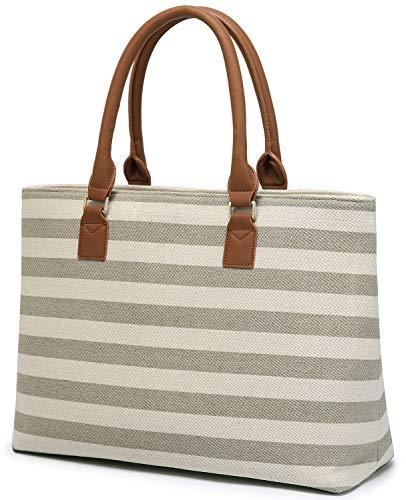 BLUBOON Tote Shoulder Bag Women Fashion Handbag Canvas Work Teacher Carry On Bag Grey Stripe (Grey 0116)