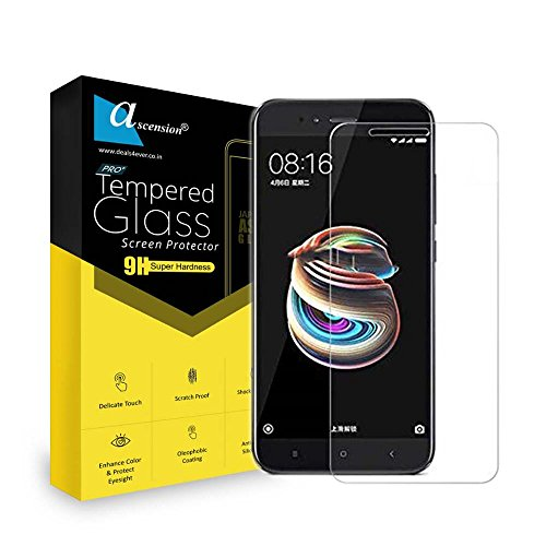 Ascension ® For Xiaomi Mi A1 Curve Tempered Gorilla Screen Protector High Premium Quality 9h Hard 2.5D ultra clear (transparent) (Set of 1)