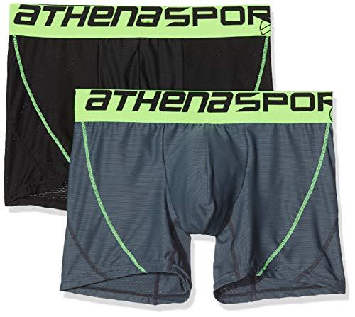 ATHENA - Lot de 2 Boxers Homme Air Performance - Taille : 2 - Couleur : Noir-Poivre