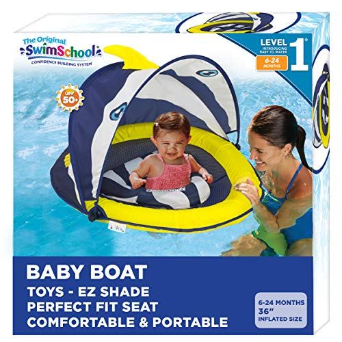 SwimSchool Deluxe Infant Baby Pool Float with Splash amp Play Activity Center Adjustable Sun Canopy PerfectFit Safety Seat Infant Baby Floatie 6  24 Months Navy/White