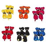 Demiawaking Set 4 Stivali Antipioggia per Cane e Gatto Domestico Scarpette Antiscivolo Impermeabili per Cucciolo Domestico (Colore...