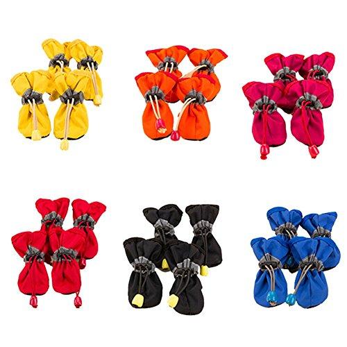 Demiawaking Set 4 Stivali Antipioggia per Cane e Gatto Domestico Scarpette Antiscivolo Impermeabili per Cucciolo Domestico (Colore Casuale) (3.5x4.4CM)