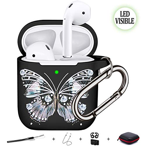Compatible with Air Pods Cases Cover, Five Star Online Earpods Case Fasion Butterfly Pattern Soft Silicone Protective Cover Skin with Carabner/Keychain Compatible with Air pods Case Earpods Cove