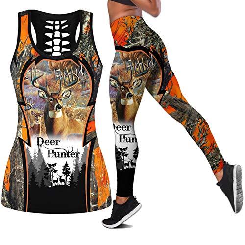 CONPLWS Animal Deer Mujeres Hollow Tanktop + Legging 3D Print Streetwear Sexy Vest