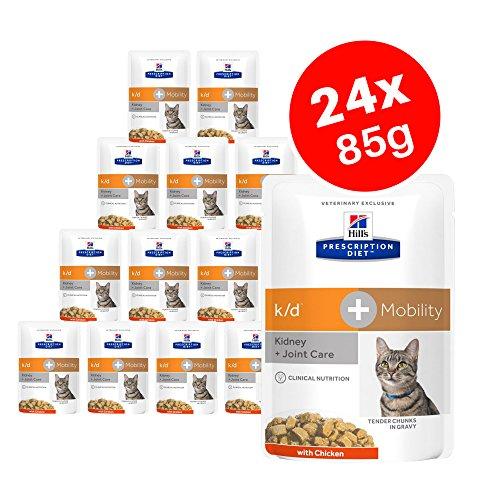 Hills Prescription Diet k/d + Mobility – Alimento para gatos adultos con pollo, riñón + cuidado articular 12 x 85 g (Paquete de 2)