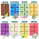 YCYH Scented Wax Melts -Set of 8 (2.5 oz) Assorted Wax Warmer Cubes/Tarts - Jasmine, Rose, Bergamot, Fig, Vanilla, Lemon, Spring, Lavender