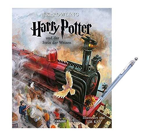 Carlsen Verlag Harry Potter und der Stein der Weisen. Band 1 (vierfarbig illustrierte Schmuckausgabe) + 1 Harry Potter Kugelschreiber