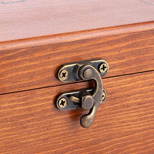 Uxsiya Caja de costura de madera vintage adorable patrón de taraxacum Wear- caja de costura adecuada para decoración de escritorio hogar herramientas de costura (caja vacía de diente de león, azul)
