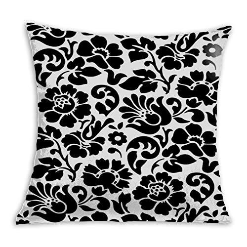 2183 Funda de cojín de 45 x 45 cm, diseño floral, color blanco y negro