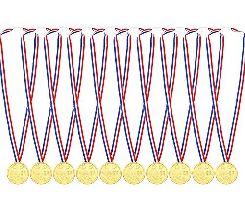 ExeQianming Medallas de plástico dorado para niños para premios de juegos de fiesta, premios, 10 unidades