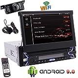 Telecamera Posteriore Incluso, Singolo Stereo 1 DIN Car Video Player 7 Pollici Android Touch Screen 9,0 OS Dash Navigazione GPS Ricevitore Radio con Bluetooth WiFi MirrorLink OBD2 SWC a Distanza se