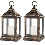 Bright Zeal Pack of 2 Vintage 9' Candle Lantern w LED Flickering Flameless Candle (Bronze, 8hr Timer) - Decorative Lanterns Battery Powered LED - Hanging Lanterns Decorative - Indoor Tabletop Lanterns