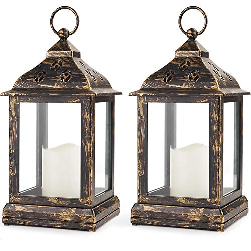 """Bright Zeal Pack of 2 Vintage 9"""" Candle Lantern w LED Flickering Flameless Candle (Bronze, 8hr Timer) - Decorative Lanterns Battery Powered LED - Hanging Lanterns Decorative - Indoor Tabletop Lanterns"""